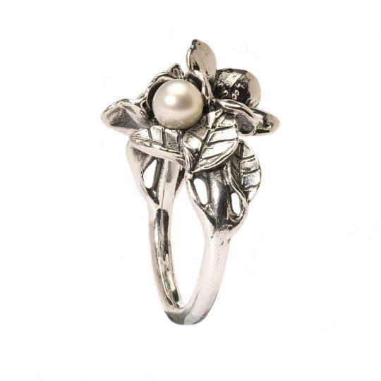 Inel Floare de Păducel cu Perlă