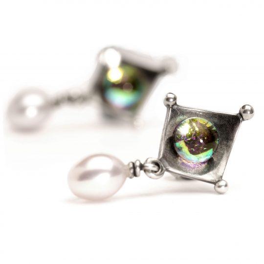 Cercei Cu Perlă Şi Sticlă Dicroică